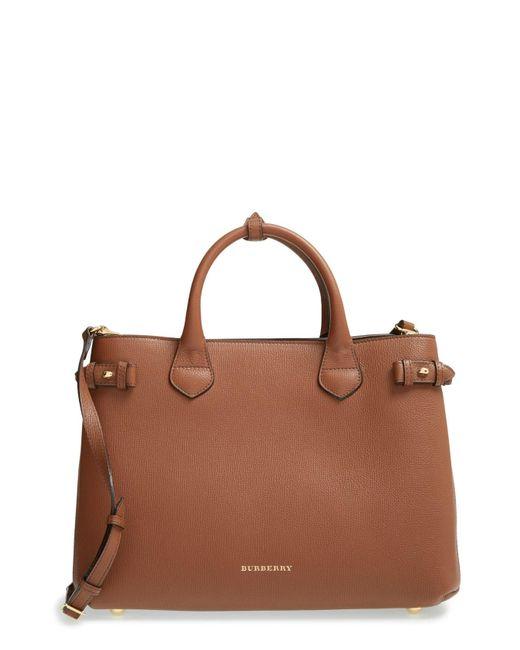 Burberry - Brown Banner Medium Leather Satchel - Lyst
