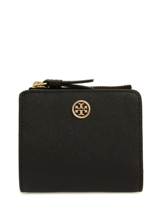 Tory Burch Black Robinson Leather French Wallet