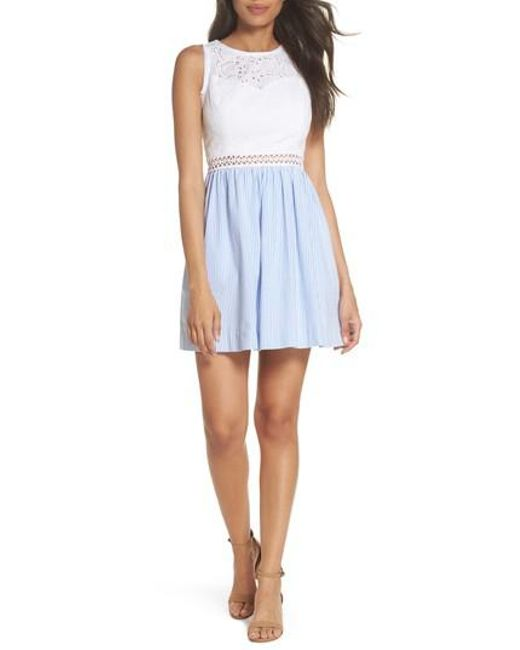 Lilly Pulitzer - Blue Lilly Pullitzer Alivia Eyelet & Seersucker Fit & Flare Dress - Lyst