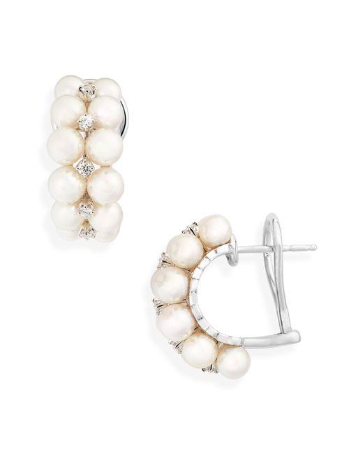 Mikimoto - Multicolor 2-row Pearl & Diamond Earrings - Lyst
