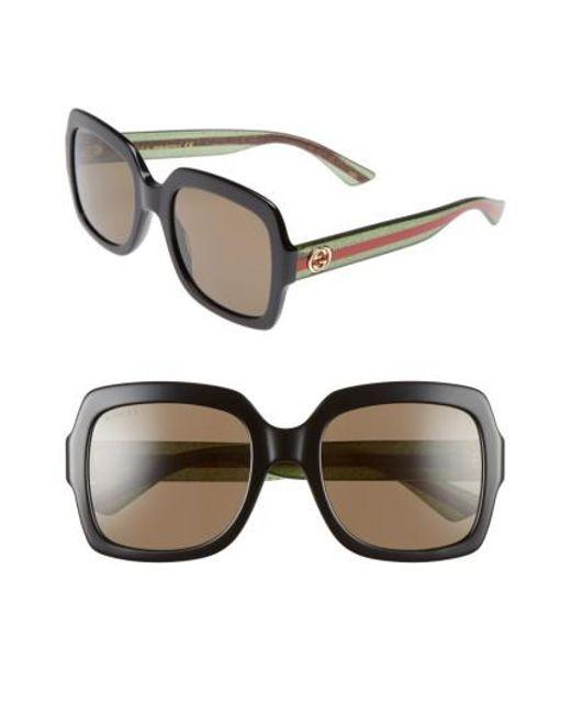 Gucci - Brown 54mm Square Sunglasses - Lyst