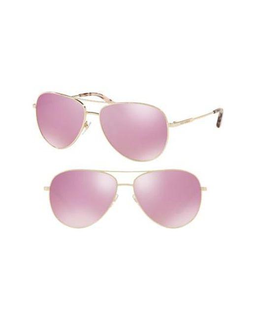 Tory Burch - Pink 59mm Thin Metal Aviator Sunglasses - Lyst