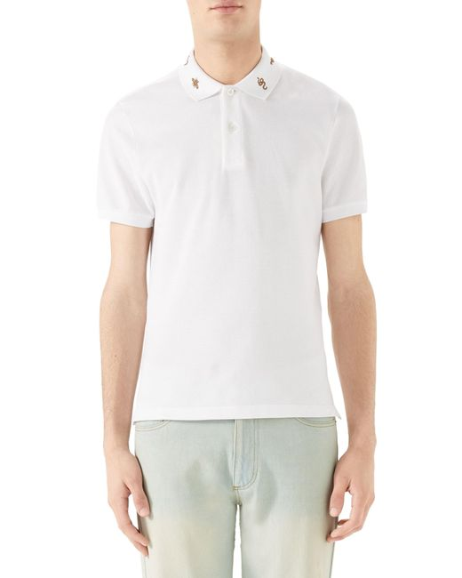 4869dc1b04a Gucci - White Gold Embroidered Piqué Polo for Men - Lyst ...