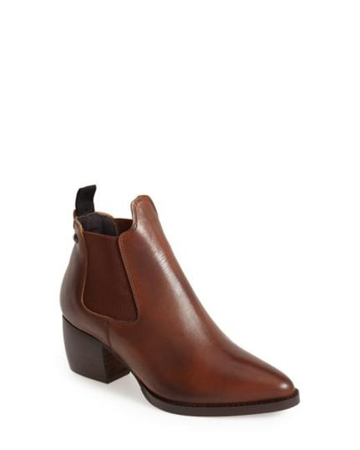 TOPSHOP   Brown 'margot' Leather Ankle Bootie   Lyst