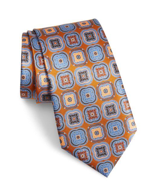Ermenegildo Zegna Blue Medallion Silk Tie for men
