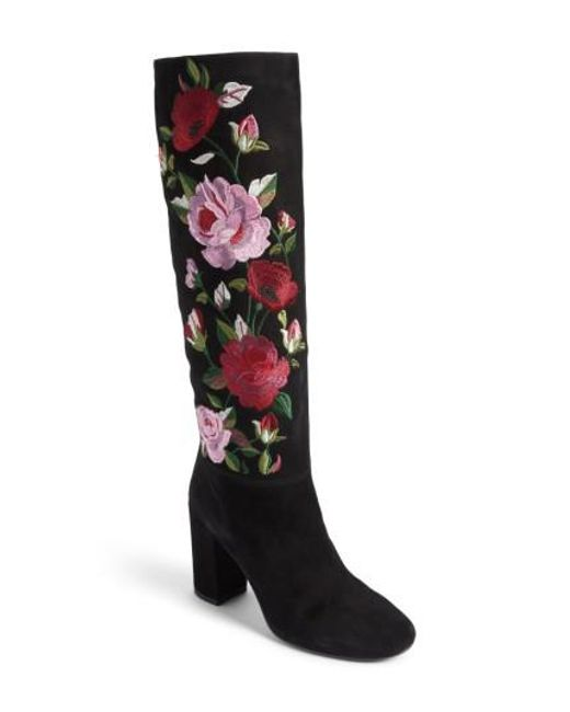 Kate Spade | Black Greenfield Flower Embroidered Boot | Lyst