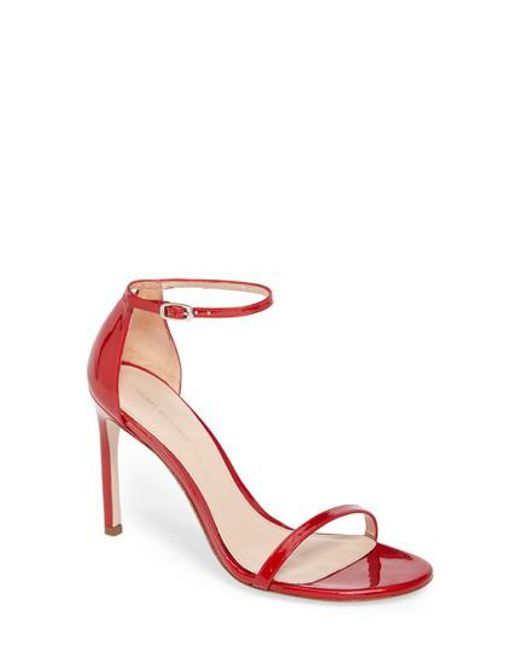 Stuart Weitzman | Red Nudistsong Ankle Strap Sandal | Lyst