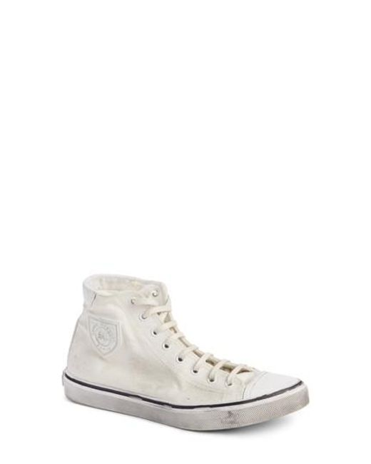 2f1caa43427 Saint Laurent - White Bedford Distressed High Top Sneaker for Men - Lyst