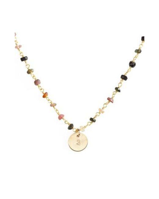 Nashelle | Metallic 14k-gold Fill Mini Initial Disc Tourmaline Chain Necklace | Lyst