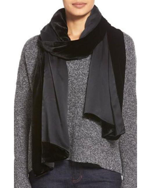 Eileen Fisher | Black Velvet Wrap | Lyst