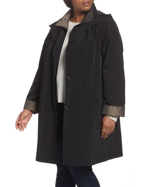 Gallery - Black Two-tone Long Silk Look Raincoat - Lyst