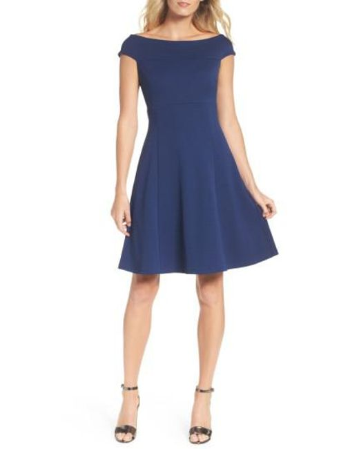 Adrianna Papell | Blue Fit & Flare Dress | Lyst