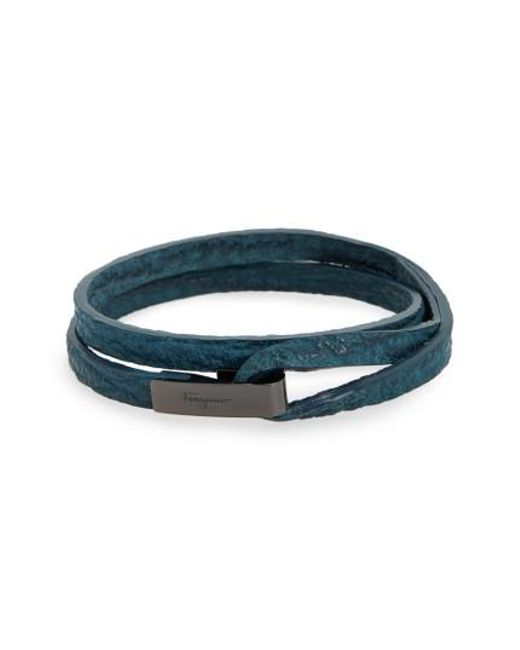 Ferragamo | Blue Double Wrap Leather Bracelet | Lyst