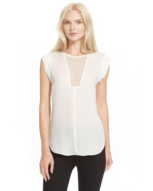 Rebecca Taylor | White 'charlie' Sheer Inset Silk Top | Lyst