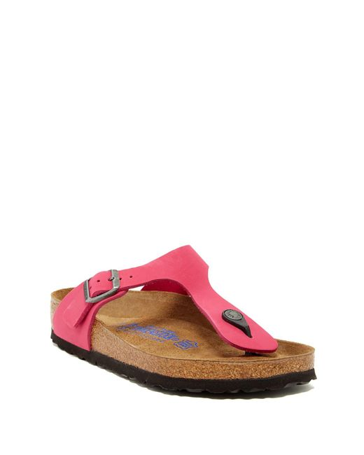 Birkenstock | Pink Gizeh Soft Footbed Thong Sandal - Discontinued | Lyst