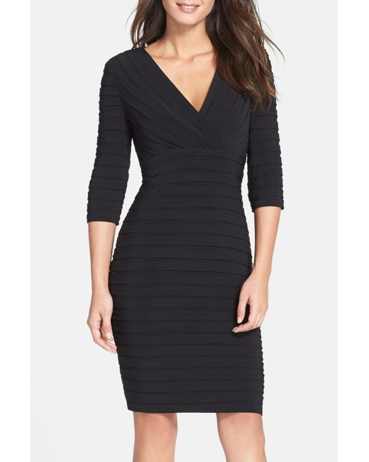 Adrianna Papell | Black Pleated Jersey Sheath Dress | Lyst