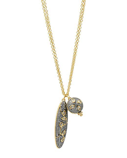 Freida Rothman - Metallic 14k Yellow Gold & Black Rhodium Plated Fleur Bloom Pave Cz Double Pendant Necklace - Lyst
