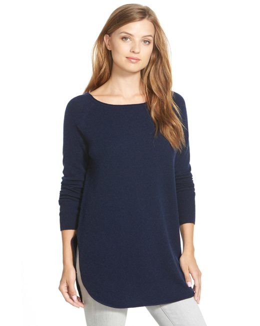 Halogen - Blue Shirttail Wool & Cashmere Boatneck Tunic - Lyst