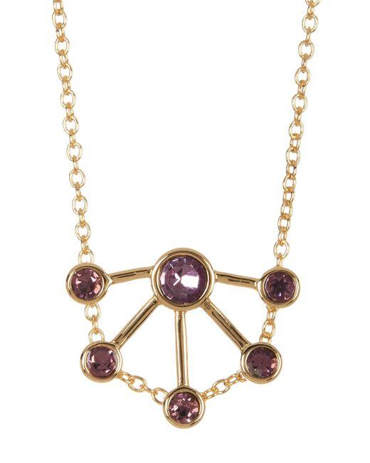 Rebecca Minkoff   Multicolor Gem Stone Fan Pendant Necklace   Lyst