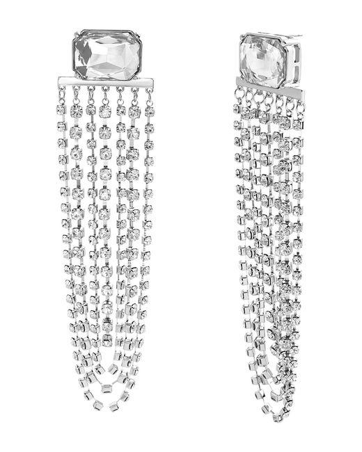 Steve Madden - Metallic Clear Crystal Glass Drop Earrings - Lyst