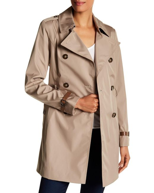 Via Spiga | Natural Double Breasted Bonded Trench Coat | Lyst