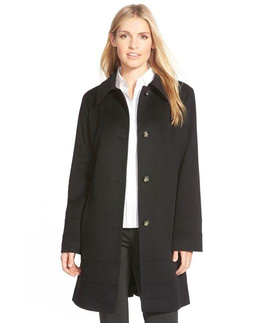 Fleurette   Black Wool Spread Collar Coat (petite)   Lyst