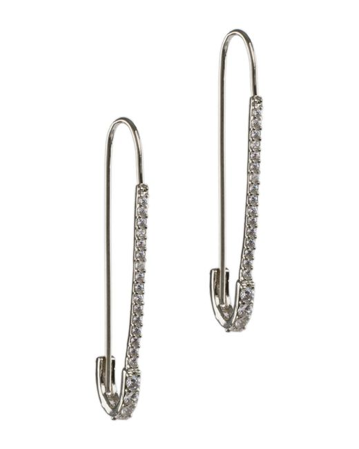 CZ by Kenneth Jay Lane - Metallic Cz Pave Safety Pin Drop Earrings - Lyst
