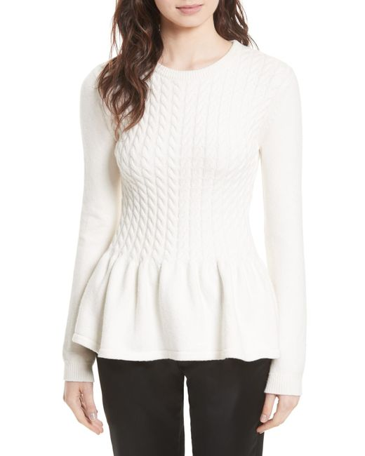 Ted Baker - Natural Mereda Cable Knit Peplum Sweater - Lyst