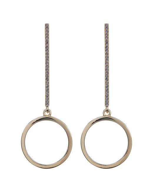 Paige Novick - Metallic Kate Pave Vertical Bar & Solid Circle Drop Earrings - Lyst