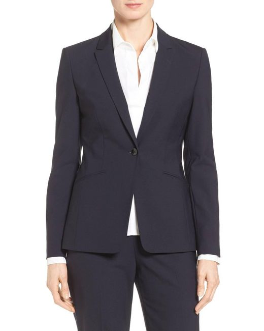BOSS - Blue Jabina Tropical Stretch Wool Jacket - Lyst