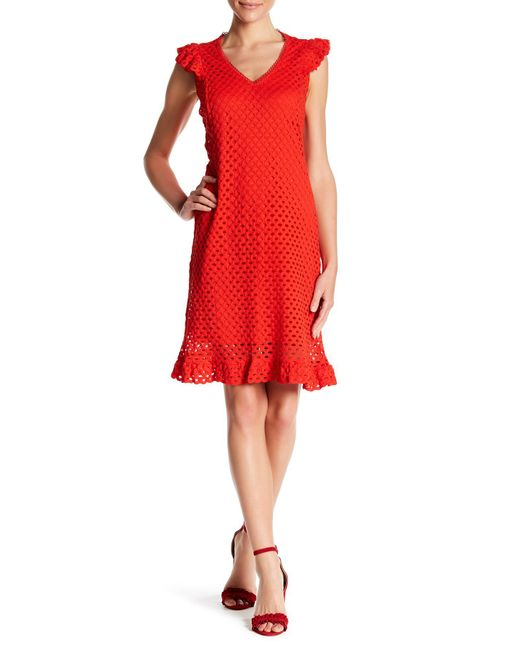 Sharagano - Red V Neck Cut Out Day Or Night Dress - Lyst