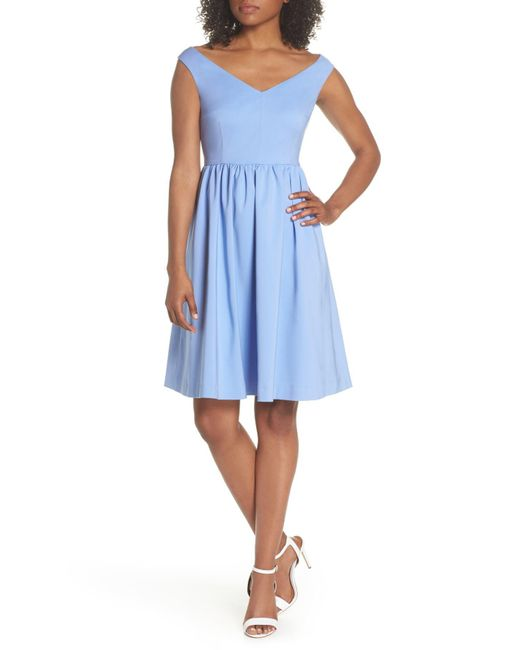 French Connection - Blue Glass Fit & Flare Dress - Lyst