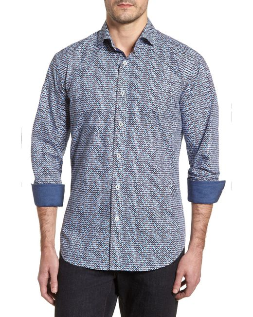 Bugatchi - Rainy Day Blues Shaped Fit Sport Shirt for Men - Lyst