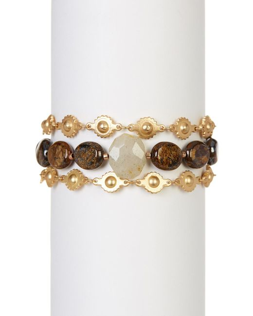 Chan Luu | Multicolor Faceted Bronzite & Rutilated Quartz Beads & Sun Link Bracelet | Lyst