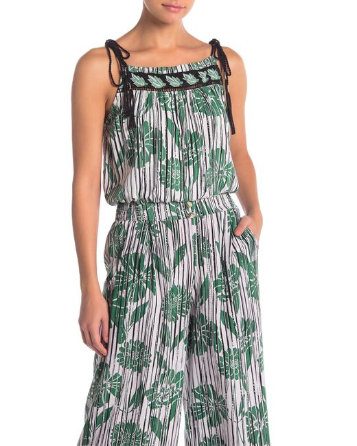 a2527b6d1710e1 Angie - Green Patterned Tie Strap Cami - Lyst ...