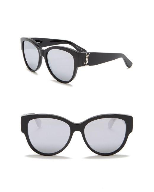 Saint Laurent - Black 55mm Cat Eye Sunglasses - Lyst