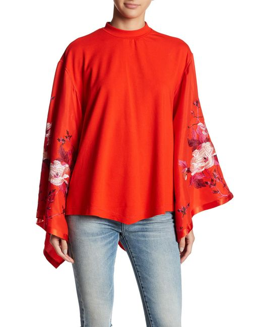 Free people sydney embroidered batwing sleeve blouse in