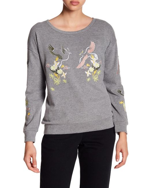 Cable & Gauge | Gray Embroidered Knit Sweatshirt | Lyst