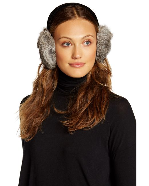 Surell | Black Genuine Rabbit Fur Earmuff | Lyst