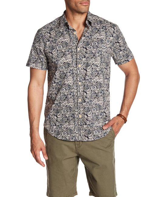 Lucky Brand - Black Ballona Floral Short Sleeve Regular Fit Shirt for Men - Lyst