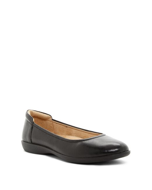 Naturalizer - Black Flexy Leather Flat - Wide Width Available - Lyst