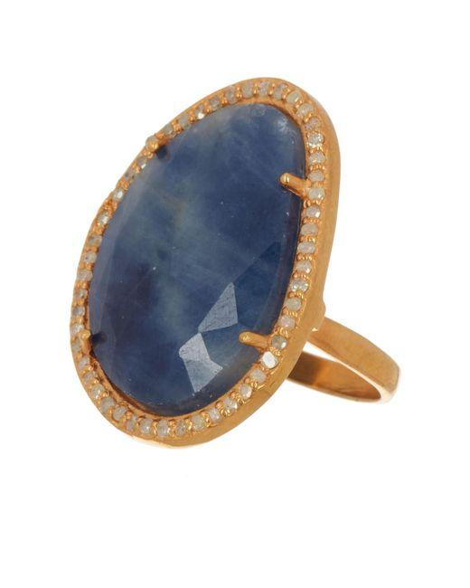 Adornia Rose Cut Blue Sapphire Slice Ring - Size 6