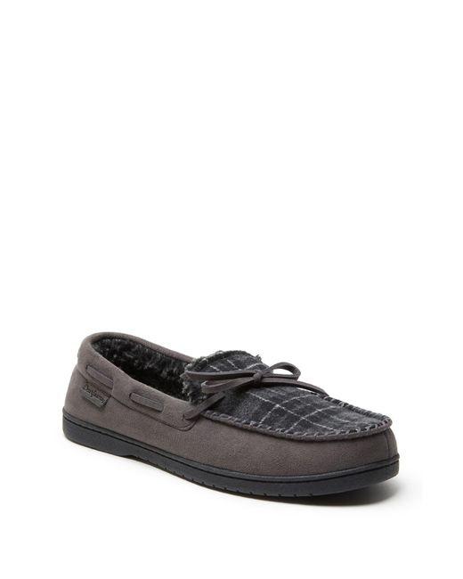 825c06496646 Dearfoams - Black Microsuede Berber Lined Moccasin - Wide Width for Men -  Lyst ...
