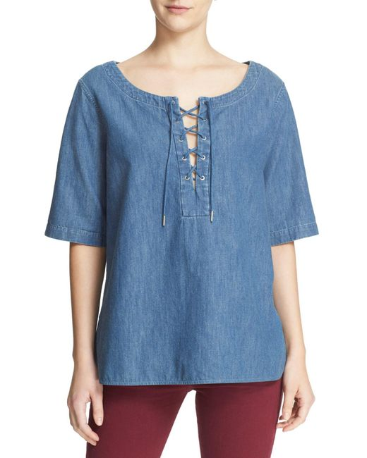 Rag & Bone - Blue Lace-up Chambray Top - Lyst