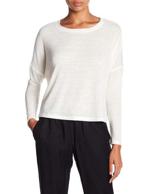 David Lerner - White Long Sleeve Cropped Boxy Tee - Lyst