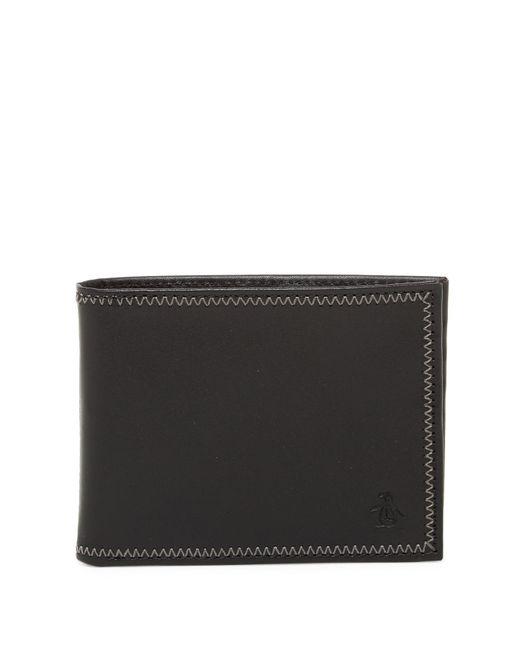 Original Penguin - Black Leather Bi-fold Wallet for Men - Lyst