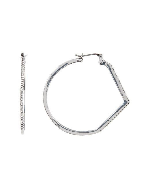 Jessica Simpson | Multicolor Crystal Detail Chevron Accent 41mm Hoop Earrings | Lyst