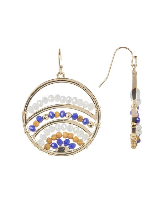 Jessica Simpson | Multicolor Wire-wrapped Faceted Bead Detail Round Earrings | Lyst