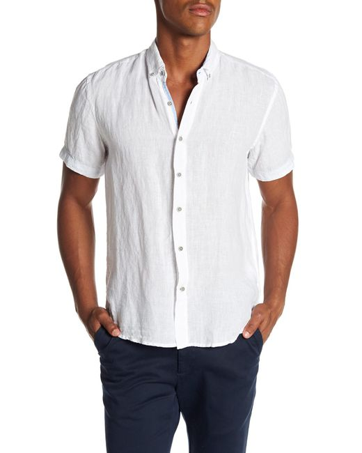 Report Collection - White Short Sleeve Slim Fit Linen Shirt for Men - Lyst