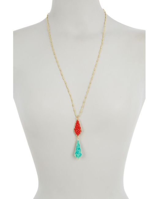 Panacea - Multicolor Orange Crystal & Turquoise Drop Pendant Necklace - Lyst
